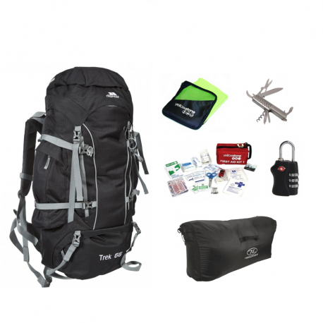 Lightpakke med alt rejseudstyr til din backpacking rejse. Har alt en backpacker har brug for.