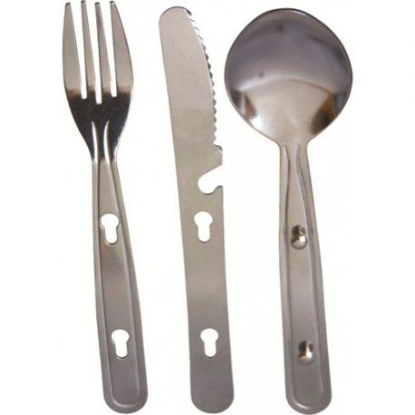 Kniv-, gaffel- og ske-sæt kan klipses sammen for minimalt fylde i rygsækken
