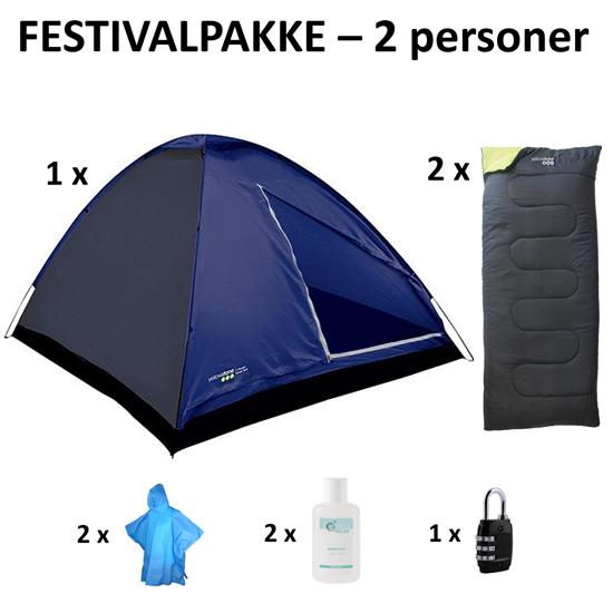 Køb festivalpakke bestående af telt, soveposer og