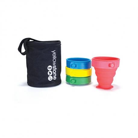 Foldekopper – Kommer i sæt af 4 kopper i forskellige farver