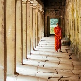 Lokal munk ved tempel i Cambodia